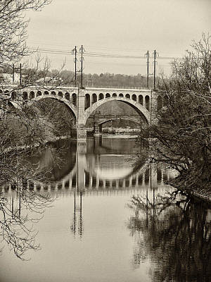 The Manayunk Bridge In Sepia Art Print by Bill Cannon