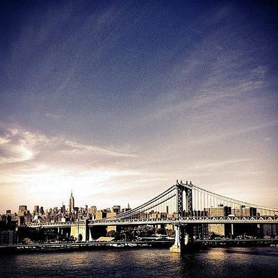 The Manhattan Bridge And New York City Skyline Art Print by Vivienne Gucwa