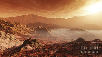 Crater Digital Art - The Martian Sun Sets Over The High by Steven Hobbs