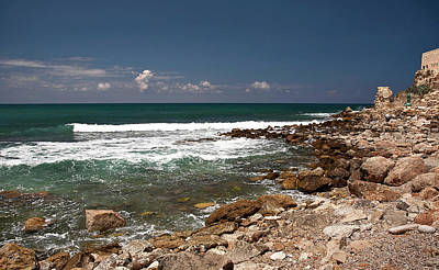 Photograph - The Mediterranean At Caesarea by Endre Balogh