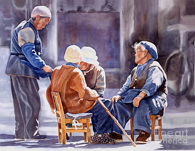 Chinese Peasant Painting - The Meeting Place by Sharon Freeman
