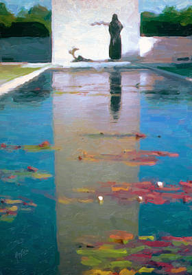 Nederland Painting - The Memorial Pond In Margraten by Nop Briex