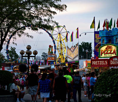 Photograph - The Midway Lights Up by Paulette B Wright