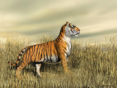 Digital Art - The Mighty Tiger by Walter Colvin