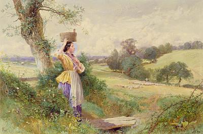 The Milkmaid Art Print by Myles Birkey Foster