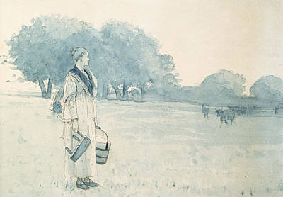 On Paper Painting - The Milkmaid by Winslow Homer