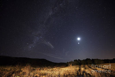 Photograph - The Milky Way, The Moon, Venus by Luis Argerich