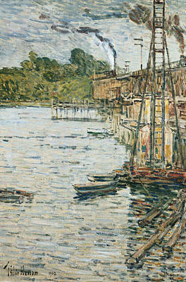 Mooring Painting - The Mill Pond by Childe Hassam