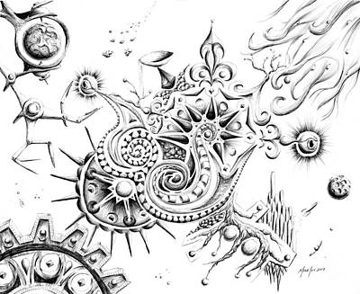 Wall Art - Drawing - The Mind At Work by Michael Ivy