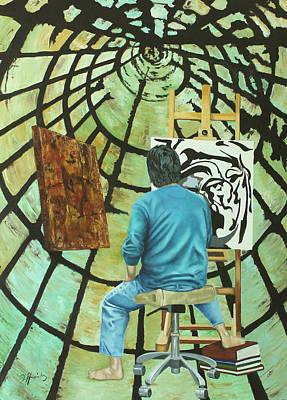 The Mirror Of Stone And Time Tunnel El Espejo De Piedra Y El Tunel Del Tiempo Art Print by Fernando A Hernandez