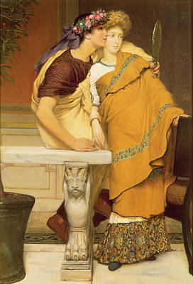 Tadema Painting - The Mirror by Sir Lawrence Alma-Tadema