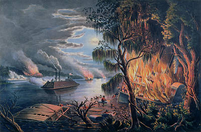 Currier And Ives Painting - The Mississippi In Time Of War by Frances Flora Bond Palmer