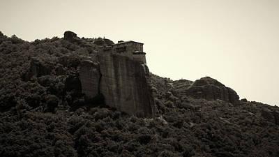 Photograph - The Monastery Of Roussanou On The Cliff Bw by Jouko Lehto