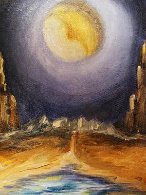 Art Print featuring the painting the Moon by Karen  Ferrand Carroll