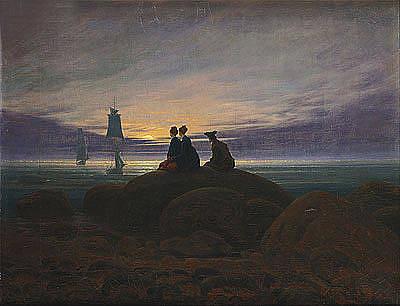 The Moon Rising Over The Sea Original