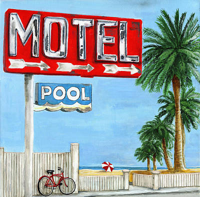 The Motel Sign Art Print by Debbie Brown