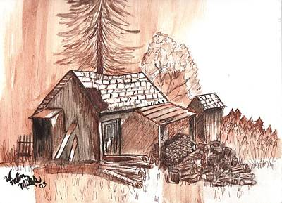 Painting - The Mountain Mans House by Windy Mountain