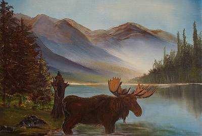 Painting - The Mountain Moose by Leslie Allen