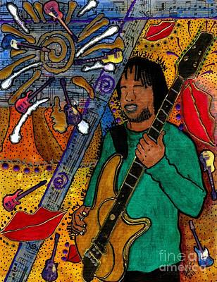 African-american Mixed Media - The Music Lover by Angela L Walker