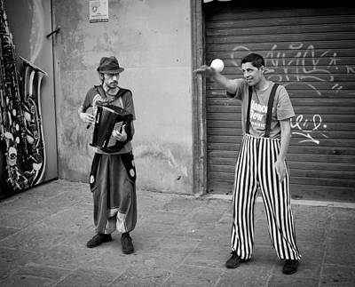 The Musician And The Juggler Art Print by Michael Avory