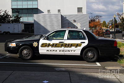 The Napa County Sheriff Car In Napa California Wine Country Art Print by Wingsdomain Art and Photography