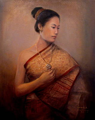 Gold Necklace Painting - The Necklace by Sompaseuth Chounlamany