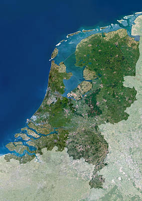 Netherlands Map Photograph - The Netherlands, Satellite Image by Planetobserver