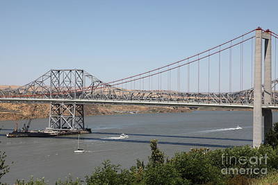 The New Alfred Zampa Memorial Bridge And The Old Carquinez Bridge . 5d16734 Art Print by Wingsdomain Art and Photography