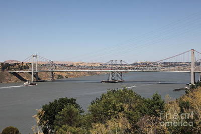 The New Alfred Zampa Memorial Bridge And The Old Carquinez Bridge . 5d16737 Art Print by Wingsdomain Art and Photography