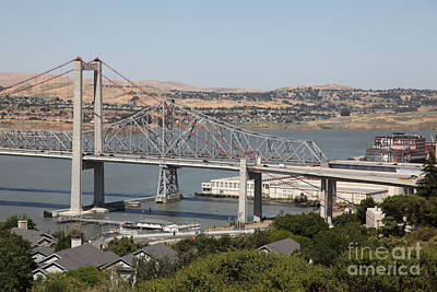 The New Alfred Zampa Memorial Bridge And The Old Carquinez Bridge . 5d16747 Art Print by Wingsdomain Art and Photography
