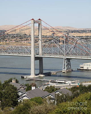 The New Alfred Zampa Memorial Bridge And The Old Carquinez Bridge . 5d16749 Art Print by Wingsdomain Art and Photography