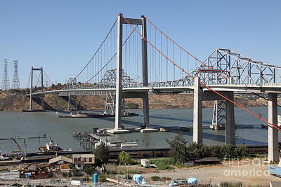 The New Alfred Zampa Memorial Bridge And The Old Carquinez Bridge . 5d16806 Art Print by Wingsdomain Art and Photography