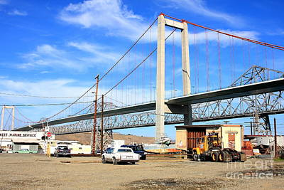 The New Alfred Zampa Memorial Bridge And The Old Carquinez Bridge Art Print by Wingsdomain Art and Photography