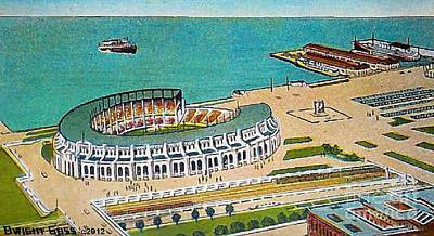 Painting - The New Municipal Stadium In Cleveland Oh In 1931 by Dwight Goss