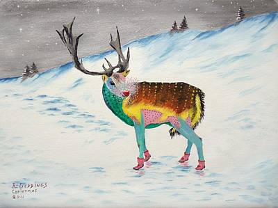Snow Scene Landscape Mixed Media - The New Rudolph by Riley Geddings