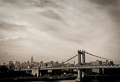 The New York City Skyline And The Manhattan Bridge Art Print by Vivienne Gucwa