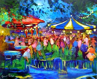 Foulard Painting - The Night To The Carrousel by Valtier