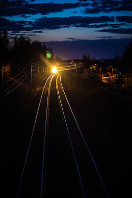 Print featuring the photograph The Night Train by Matti Ollikainen