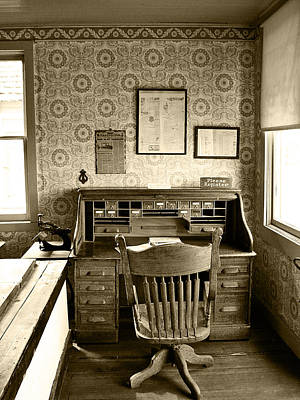 Photograph - The Office Desk Sepia by Ken Smith