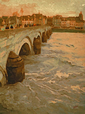 Sint Servaasbrug Painting - The Old Bridge In Maastricht by Nop Briex
