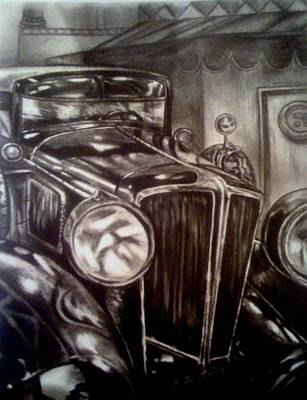 Drawing - The Old Car by Elizabeth Marks