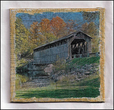 Mixed Media - The Old Covered Bridge by Ruby Cross