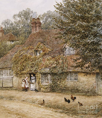 Building Exterior Painting - The Old Fish Shop Haslemere by Helen Allingham