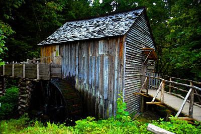 Water Wheel Painting - The Old Grist Mill by David Lee Thompson