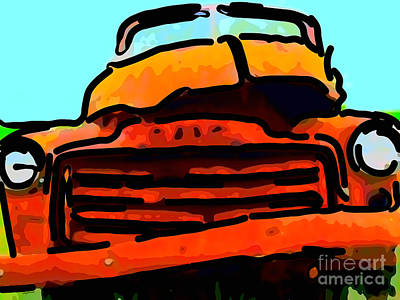 Old Trucks Digital Art - The Old Jalopy . 7d8396 . Color Sketch Style by Wingsdomain Art and Photography