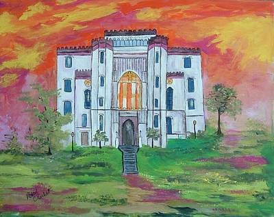 Haunted Castle Painting - The Old Louisiana  State Capitol by Mary Crochet