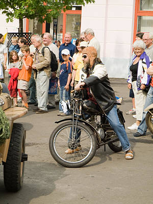 Rover Bike Photograph - The Old Motorcycle And Man by Odon Czintos