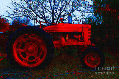 Photograph - The Old Red Tractor . 7d10320 by Wingsdomain Art and Photography