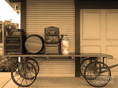 Niles Town Plaza Photograph - The Old Train Depot  - 5d18420 - Sepia by Wingsdomain Art and Photography