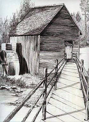 Drawing - The Ole Millhouse by Cheryl Poland